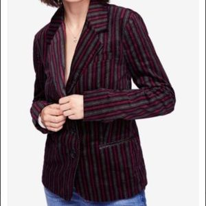 Free People B-Line Striped Blazer Red Combo NWT XS